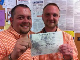 Seth Stewart, left and Hunter Fawks, Marshall County native, and partners of 2 years.
