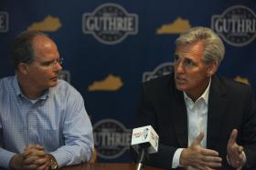 Rep. Brett Guthrie of Bowling Green (left), and the U.S. House Majority Leader-elect, Kevin McCarthy of California, spoke to reporters Saturday in Warren County ahead of a fundraiser.