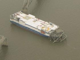 A cargo ship took out a 322-foot section of the Eggners Ferry Bridge in western Kentucky on January 26, 2012.