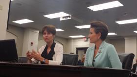 Kentucky Department of Veterans Affairs Commissioner Heather French Henry (right) and Deputy Commissioner Margaret Plattner (left)