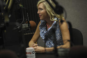Kelley Paul discusses Presidential politics in the WKU Public Radio studio.