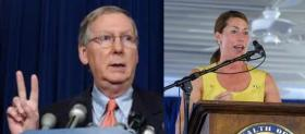 U.S. Senator Mitch McConnell (R-KY) and Democratic challenger Alison Lundergan Grimes.