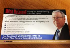 "This mailer from the NRA Institute for Legislative Action says Sen. McConnell will ""Stop the Obama/Bloomberg Gun Control Agenda""."