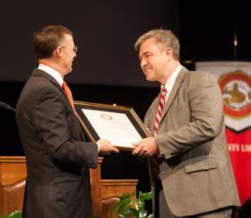 Dr. Bruce Kessler, head of WKU's Department of Mathematics, received the 13th annual Spirit of WKU Award.