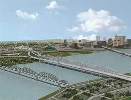An artist's rendering of the new Ohio River bridges project