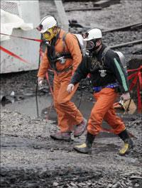 Investigators at the scene of the Sago mine disaster in West Virginia.