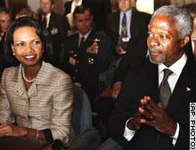 Condoleeza Rice meeting with Kofi Annan. Photo courtesy of AP.