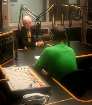 Nick Clooney speaking to Kevin Willis at WKYU-FM.