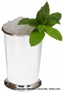 This julep comes in the traditional silver cup.