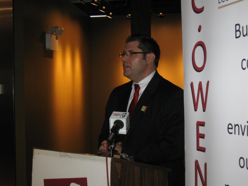 Greater Owensboro Economic Development Corporation President Nick Brake speaks at the Centre for Business and Research