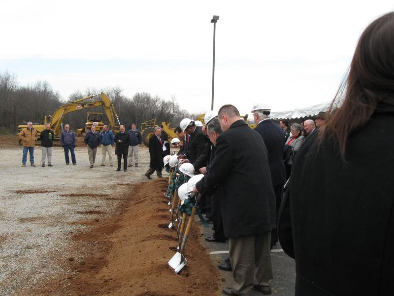 NHK Officials and Community Leaders take part in ground breaking ceremonies.