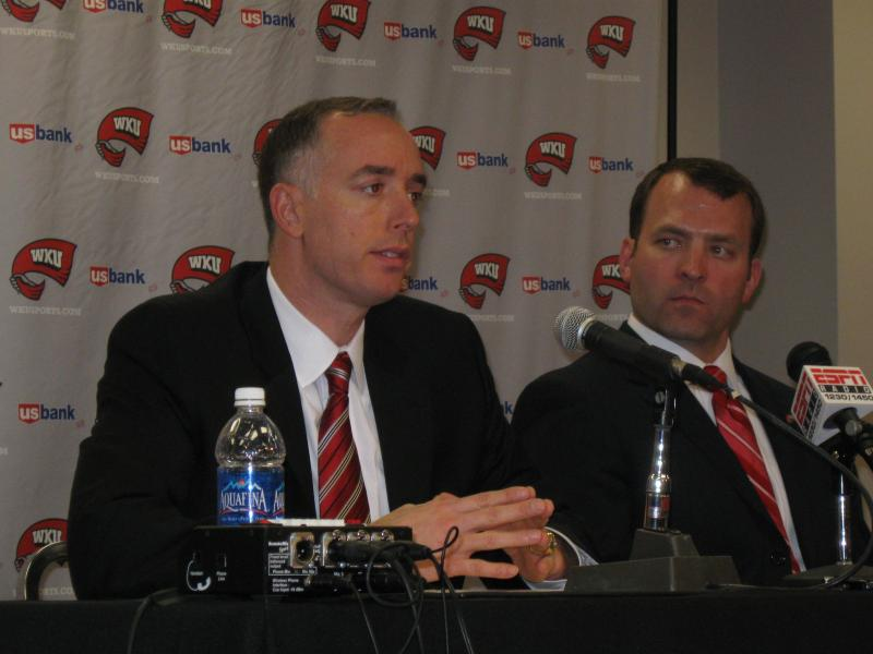 WKU Men's Basketball Coach Ken McDonald (left), and Athletics Director Ross Bjork