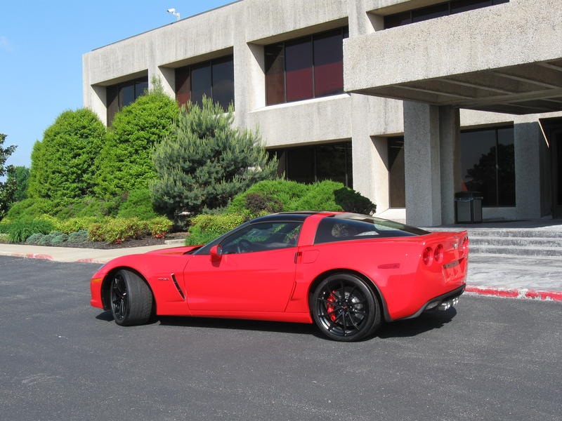 A new Corvette sits outside the Bowling Green GM plant