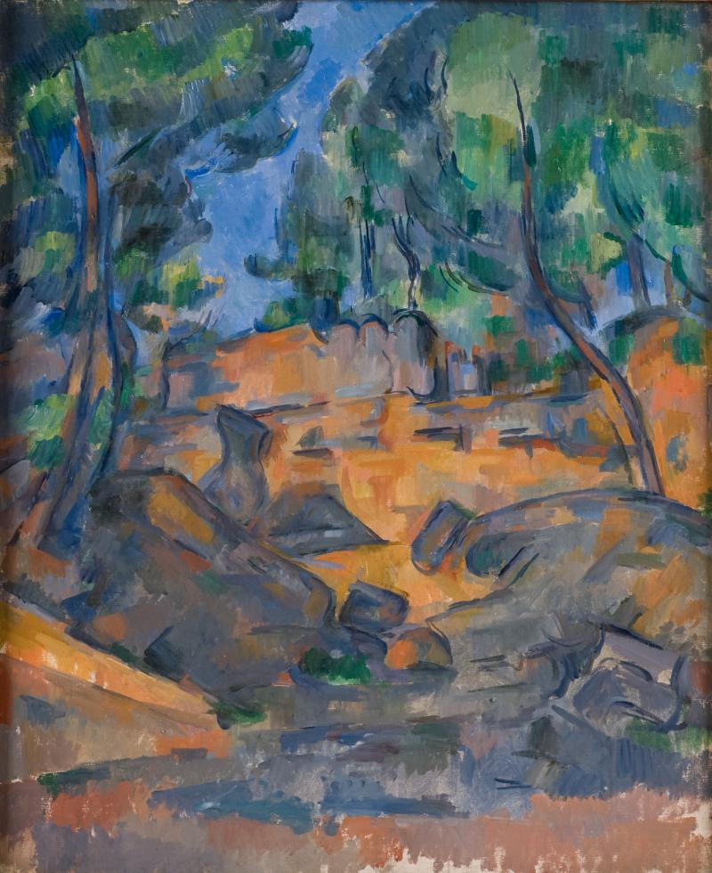 """Trees and Rocks near the Chateau Noir"" by Paul Cezanne"
