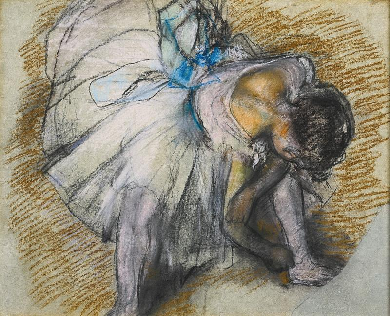 """Dancer Adjusting Her Shoe"" by Edgar Degas"