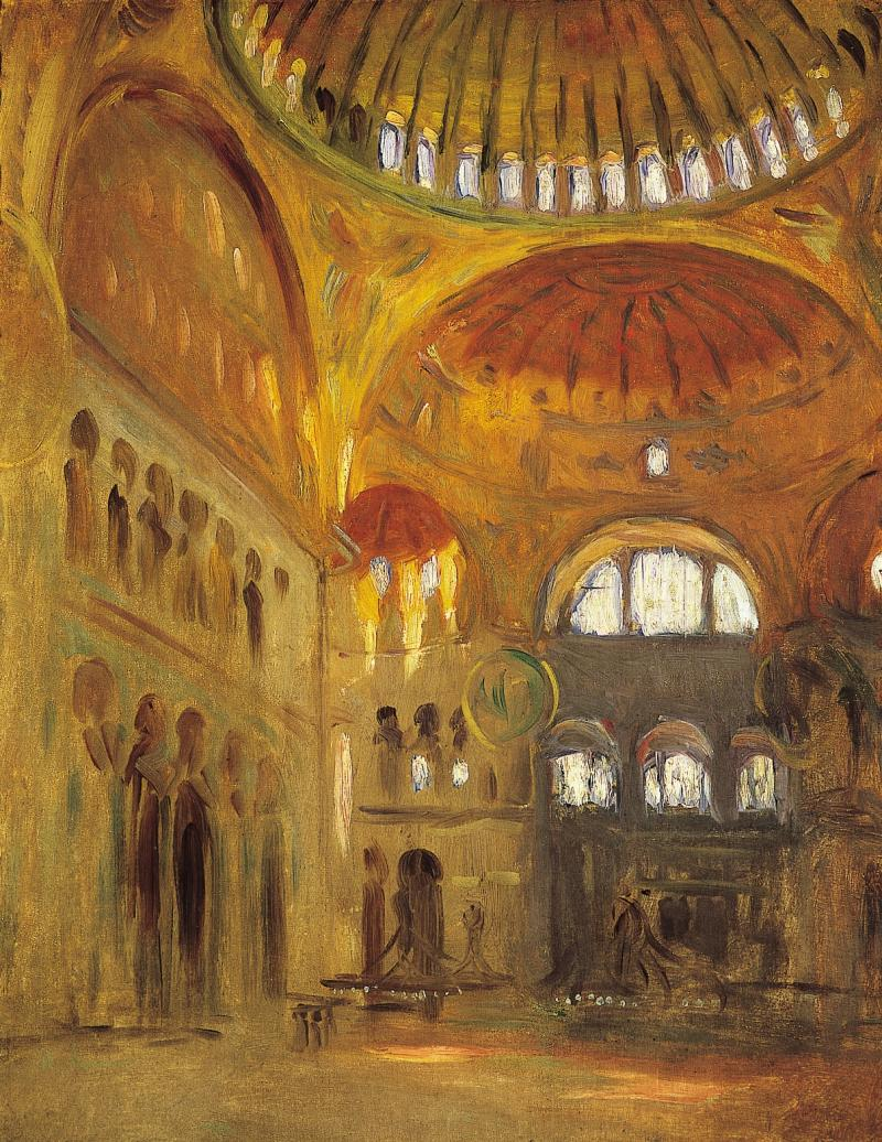 """Interior of Santa Sophia, Constantinople"" by John Singer Sargent"