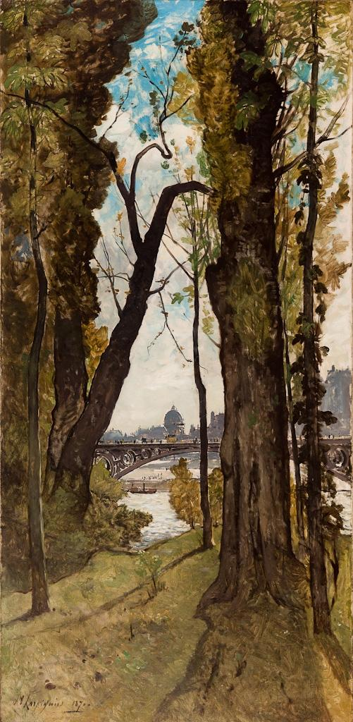 """The Pont des Saints-Peres, Paris"" by Henri-Joseph Harpignies"