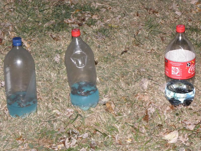 "Meth cooks use plastic bottles for ""shake and bake"" meth. The brown substance you see floating in the bottles is lye, or sodium hydroxide."