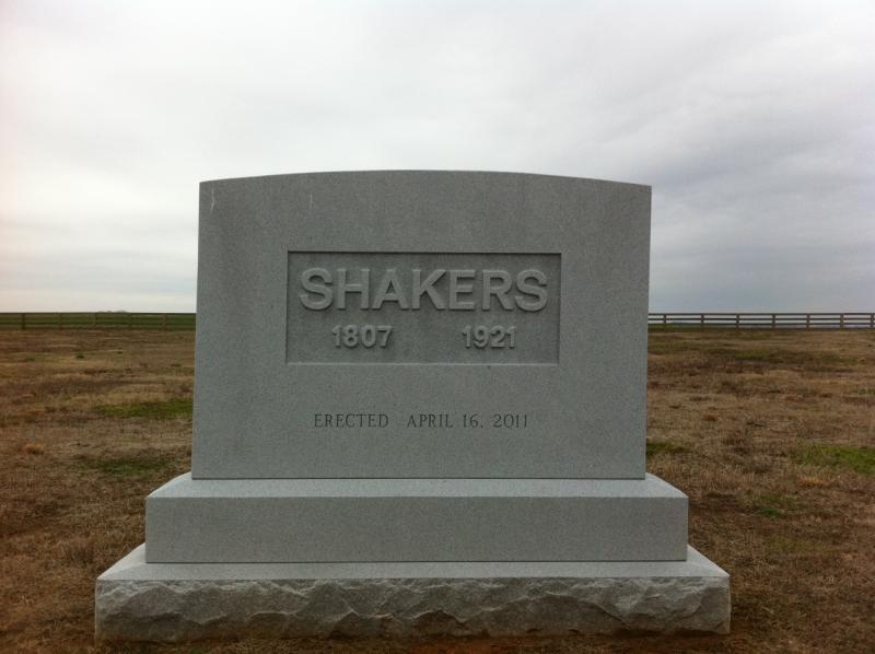 The lone Shaker memorial marker at South Union