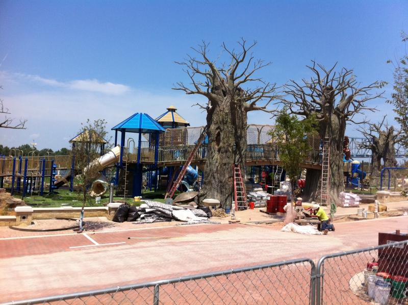 Construction continues on the children's playground portion of Smothers Park in Owensboro.