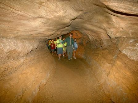 A school group is led on a tour at Carter Caves State Resort Park
