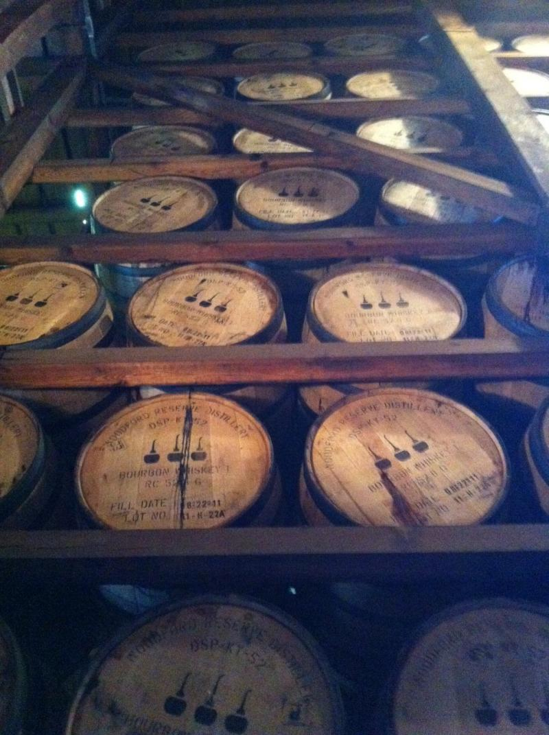 Bourbon barrels in a warehouse at Woodford Reserve