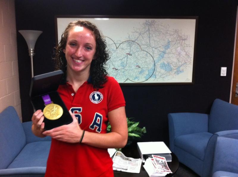 WKU's Claire Donahue spoke to WKU Public Radio Tuesday morning, and was kind enough to bring her Olympic medal.