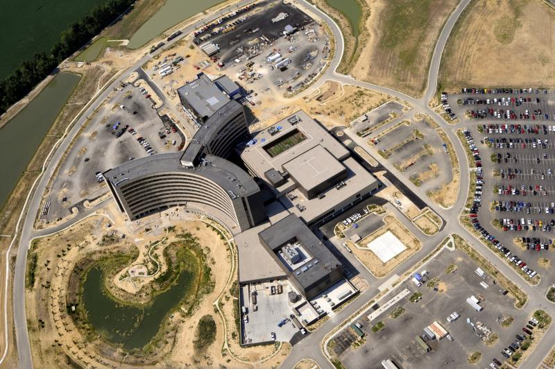 An aerial view of the new hospital under construction in Owensboro