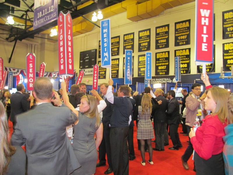 Surrogates gather inside spin alley following the VP debate
