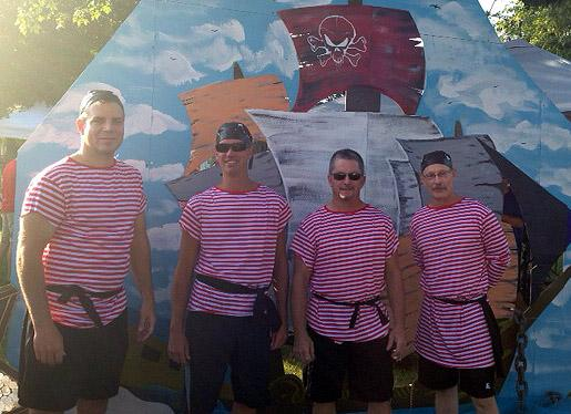 The Metal Mateys team and their pirate apparel