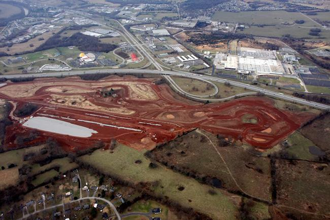 An aerial photo of the Motorsports Park site taken in December of 2013, across the highway from the Corvette Museum
