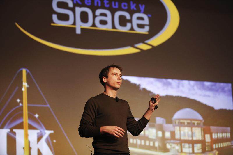 Twyman Clements, Space Systems Engineer at Kentucky Space, speaks at the IdeaFest at WKU on February 28, 2014.