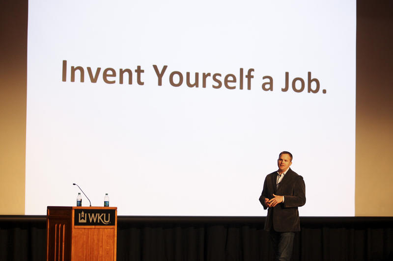 Brian Mefford, Founder and CEO of CNX, Inc., speaks at the IdeaFest at WKU on February 28, 2014.