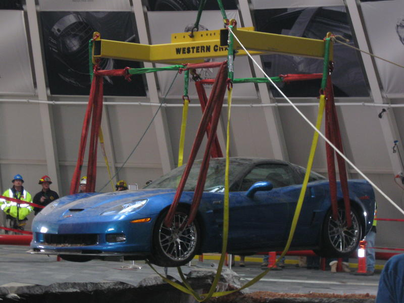 After weeks of preparation, the ZR-1, weighing about 3,500 pounds was hoisted above the sinkhole in seconds.