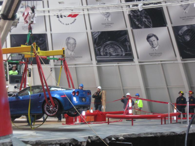 The 'Blue Devil' was cranked up and driven a few feet after it was removed from the sinkhole.