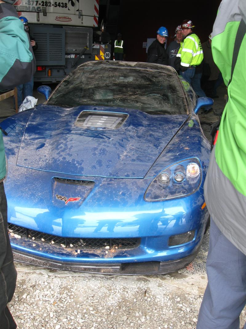After the ZR-1 was extracted, crews examined the car and found little damage others than scrapes.