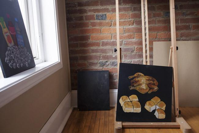 Some of Bob Gregory's works in progress inside his artist's loft in downtown Franklin, KY