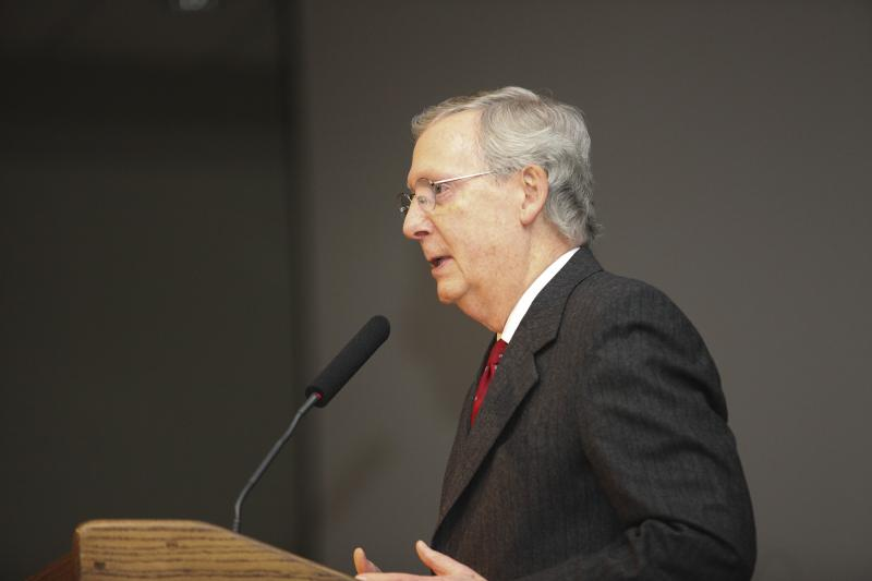 Senator Mitch McConnell speaks at the Lincoln Reagan Dinner at the Carol Knicely Center at WKU on Saturday, March 1, 2014.