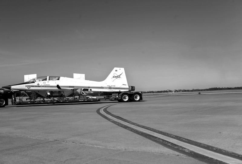 The T-38 Talon NASA jet arrives at the Bowling Green Airport on March 22, 2014.