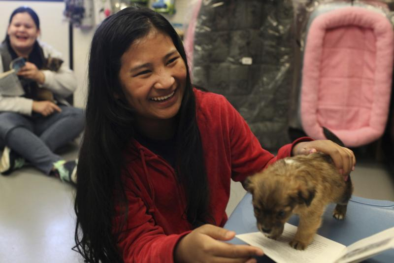 Soe Meh, originally from Thailand, reads to a puppy at the Warren County Humane Society on Wednesday, April 16, 2014.