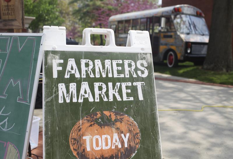 The Community Farmers Market is set up on WKU's campus on Earth Day, Tuesday, April 22, 2014.