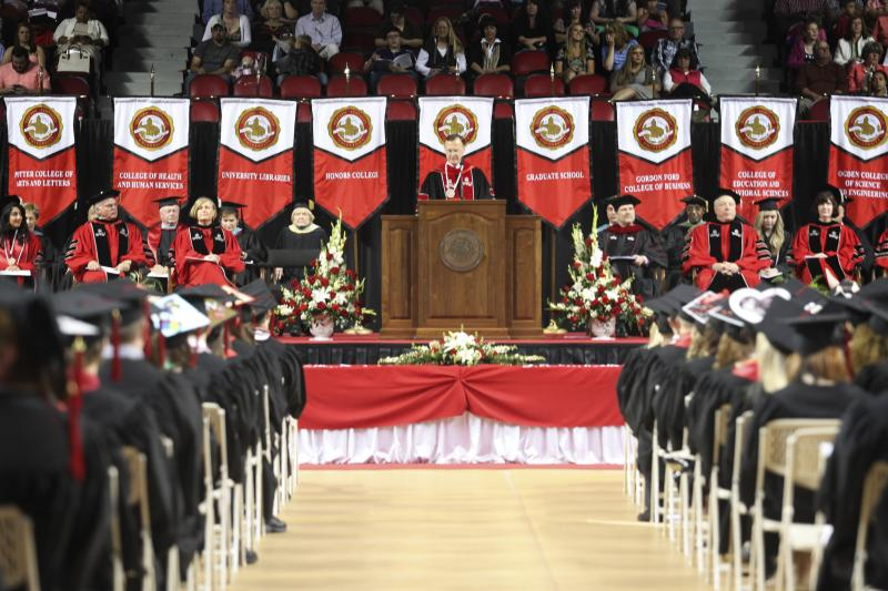 WKU President Gary Ransdell speaks at commencement at Diddle Arena on Saturday, May 17, 2014.