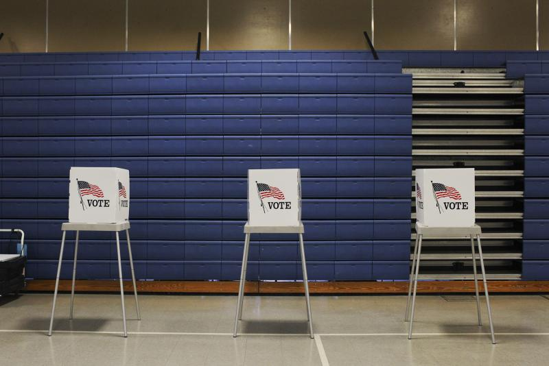 Voting booths at Lost River Elementary School Tuesday, May 20, 2014