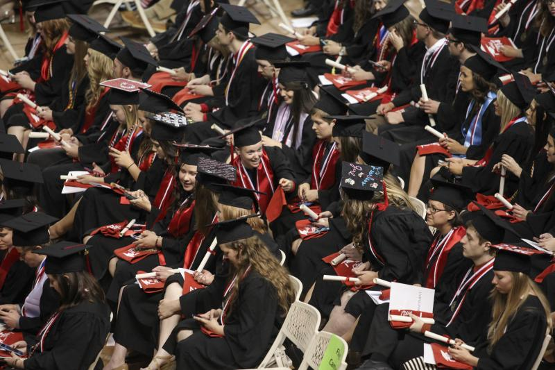 WKU graduate candidates sit in Diddle Arena during commencement on Saturday, May 17, 2014.
