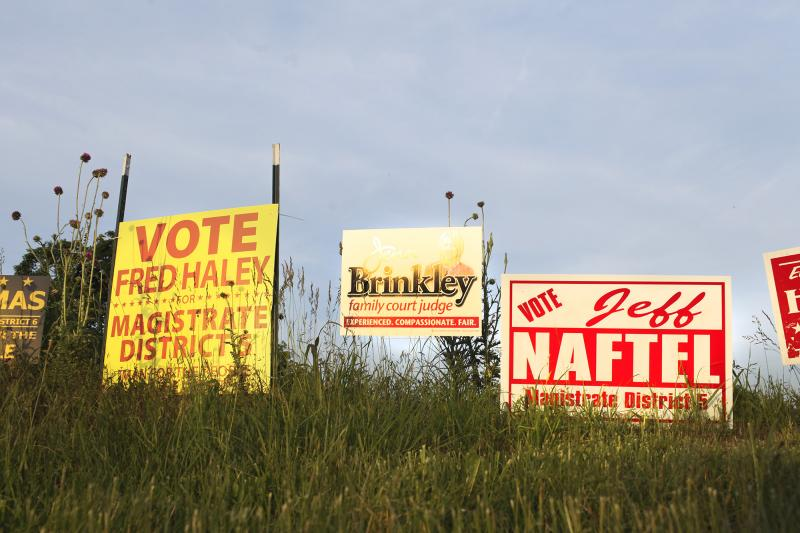 Campaign signs are posted at the corner of Memphis Junction and Russelville Road in Bowling Green on Monday, May 19, 2014.