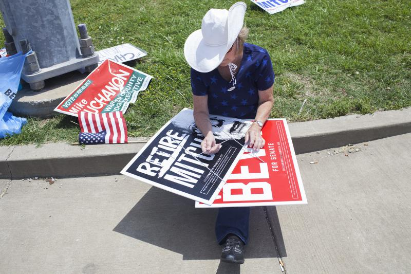 Carol Calamaio of Bowling Green holds signs for Matt Bevin at the corner of Scottsville Road and Lover's Lane on Tuesday, May 20, 2014.