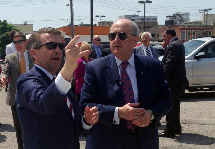 Evansville Mayor Lloyd Winnecke (left) and Indiana University President Dr. Michael McRobbie at the future site of a downtown medical center