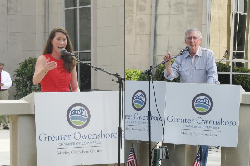 Democratic challenger Alison Lundergan Grimes and Republican U.S. Senator Mitch McConnell attended the Red, White, and Blue Picnic in Owensboro.