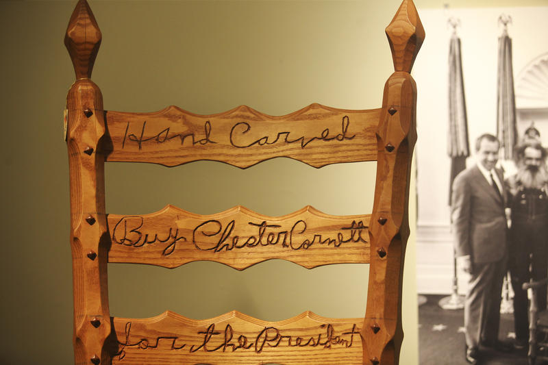 A chair created for Richard Nixon, featuring carvings by Cornett