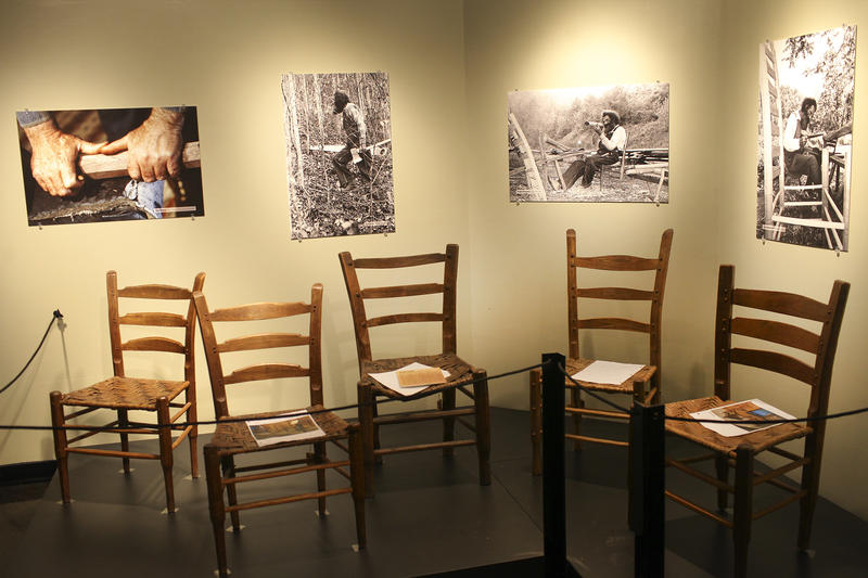Some of the Chester Cornett chairs featured in the WKU exhibit